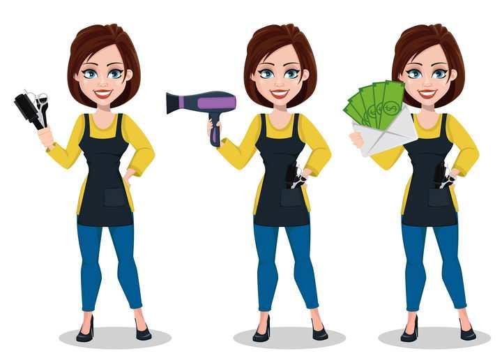 拿着美发剪刀电吹风和美元的卡通美女理发店美发师图片免抠矢量素材