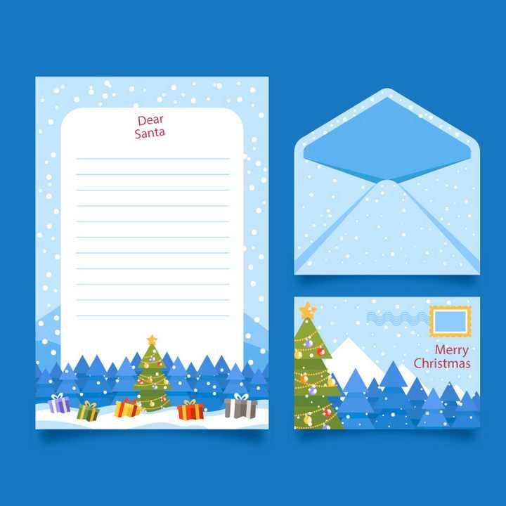 蓝色圣诞节雪花飘风格的信封和信纸图片免抠矢量素材