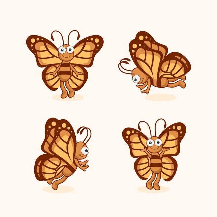 4款可爱的卡通蝴蝶图片免抠矢量素材