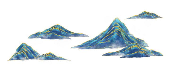 带有金丝装饰的青色大山高山风景图图片免抠png素材 插画-第1张