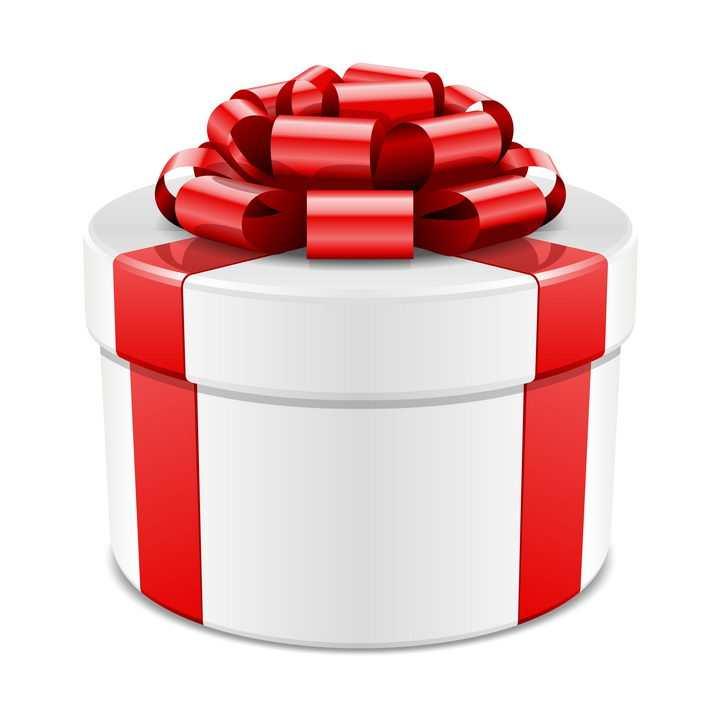 白色圆形礼物盒和红色包装带系成的蝴蝶结图片免抠素材