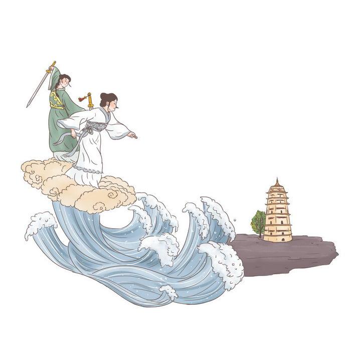 白娘子水漫金山寺中国传统神话人物传说故事手绘彩色插图图片免抠png素材 教育文化-第1张