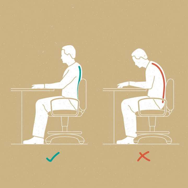 脊椎弯曲正确和错误坐姿对比图图片免抠素材