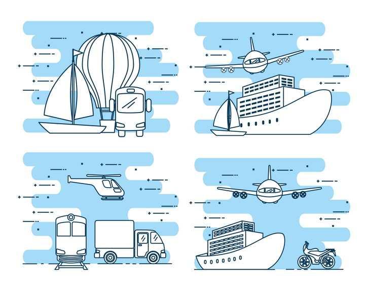 简约MBE风格帆船热气球飞机游轮汽车等线条交通工具图片免抠矢量素材