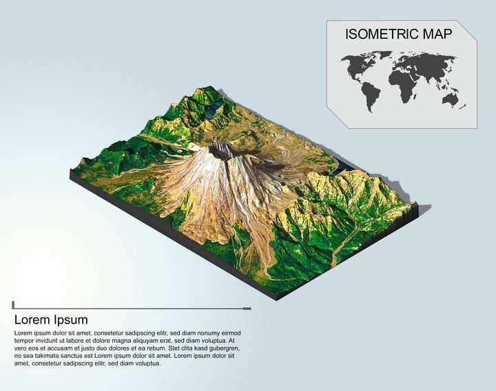 地理地质山顶有积雪的高山地形地貌PS 3D模型图片模板