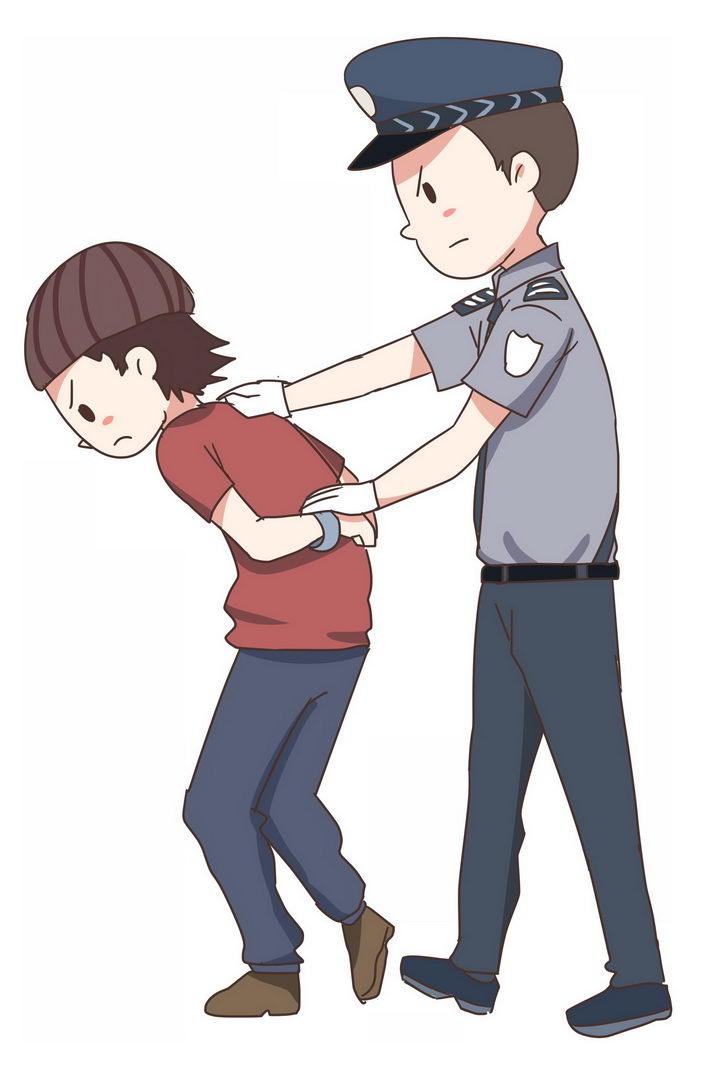 卡通漫画风格抓捕罪犯的警察图片免抠png素材 人物素材-第1张