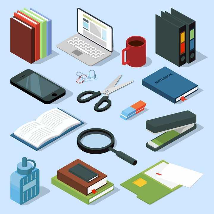2.5D风格书本笔记本电脑文件夹手机剪刀橡皮擦放大镜订书机等办公学习用品图片免抠矢量素材