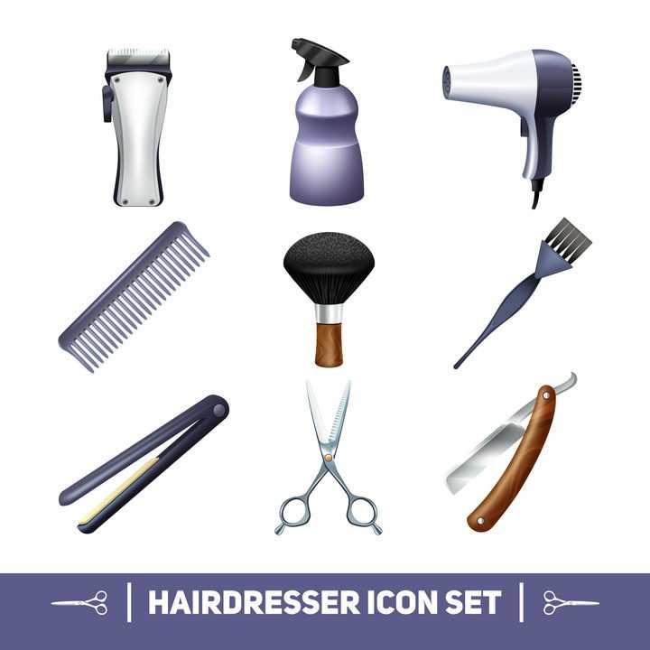 电推子吹风机梳子卷发器剪刀剃刀等美发店理发店用品图片免抠矢量素材