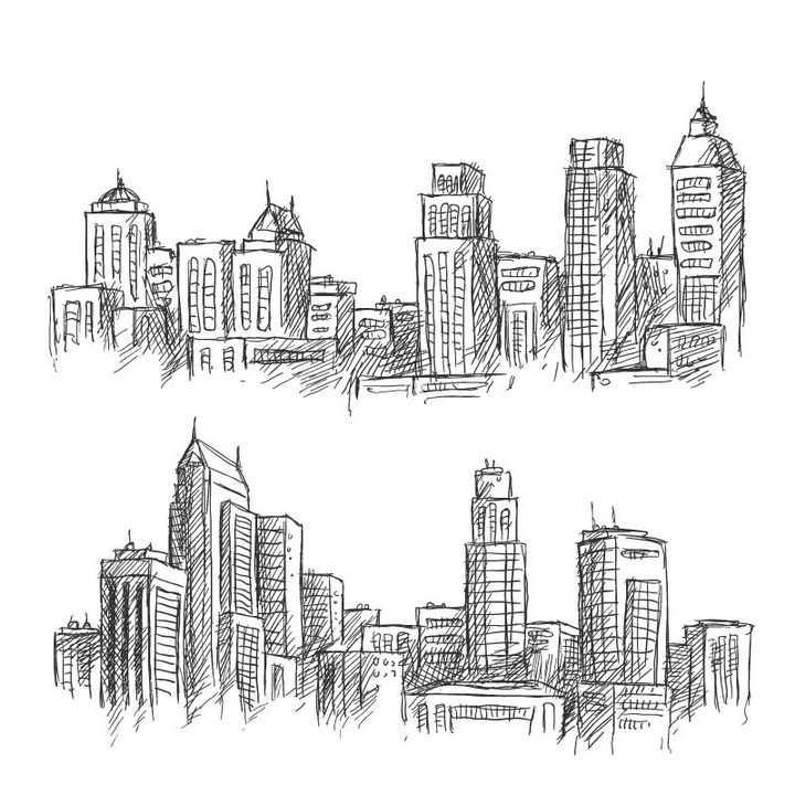 手绘线条涂鸦草图风格城市建筑天际线图片免抠矢量图素材