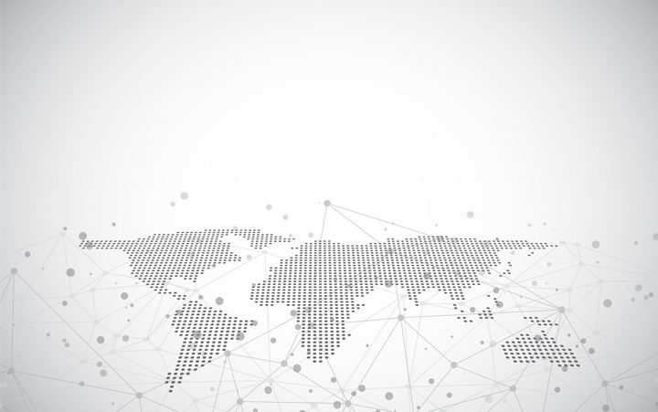 平铺视角的点阵组成的世界地图以及点线装饰图案图片免抠矢量素材
