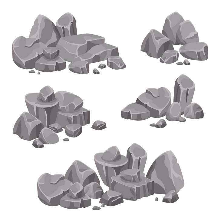 5款杂乱堆放的卡通漫画石头石块图片免抠矢量素材