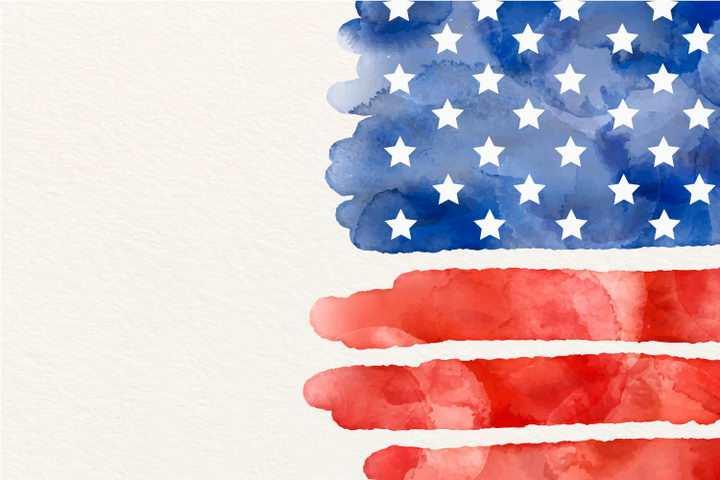 水彩画涂鸦风格美国国旗星条旗图片免抠矢量素材