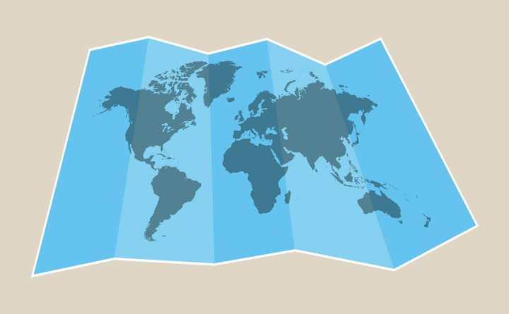 展开的折叠世界地图纸张图片免抠矢量素材