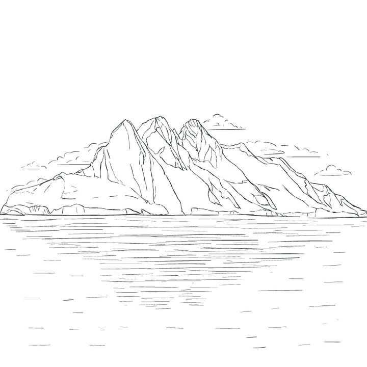 远处的大山和近处的水面风景简笔画图片免抠矢量素材