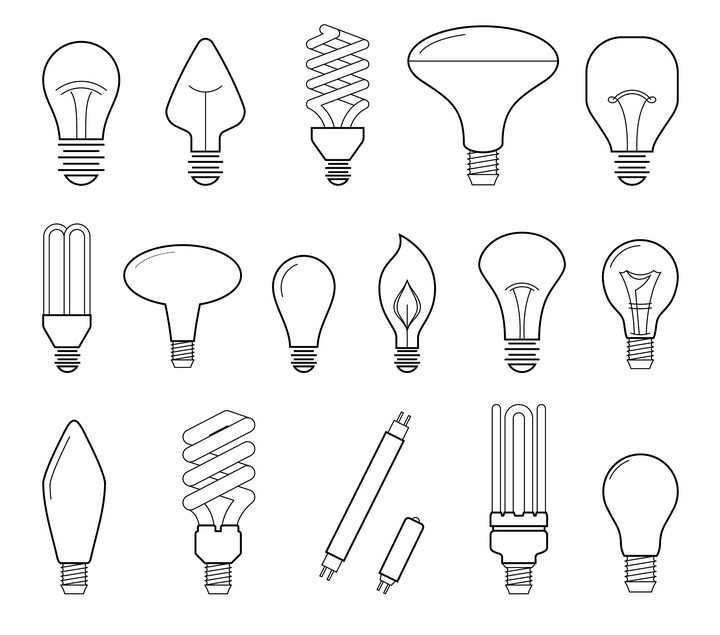 16款黑色线条风格灯管电灯泡图片免抠矢量素材