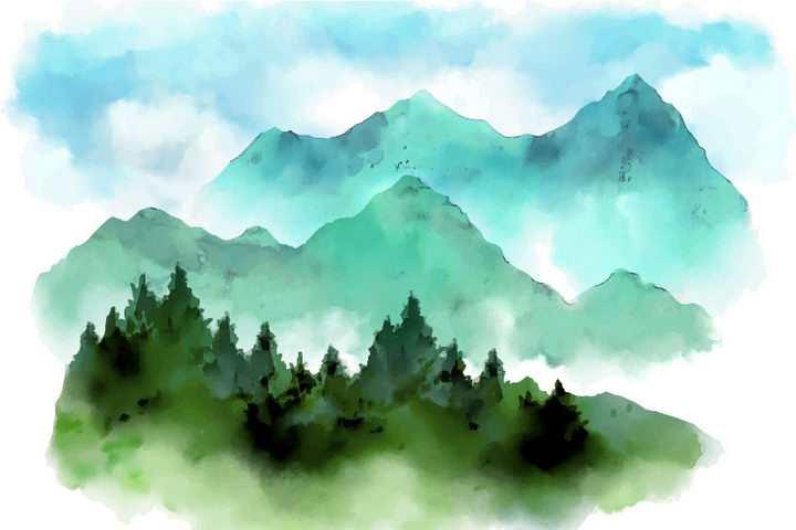 彩色水彩画绿色森林远处的大山山脉图片免抠素材