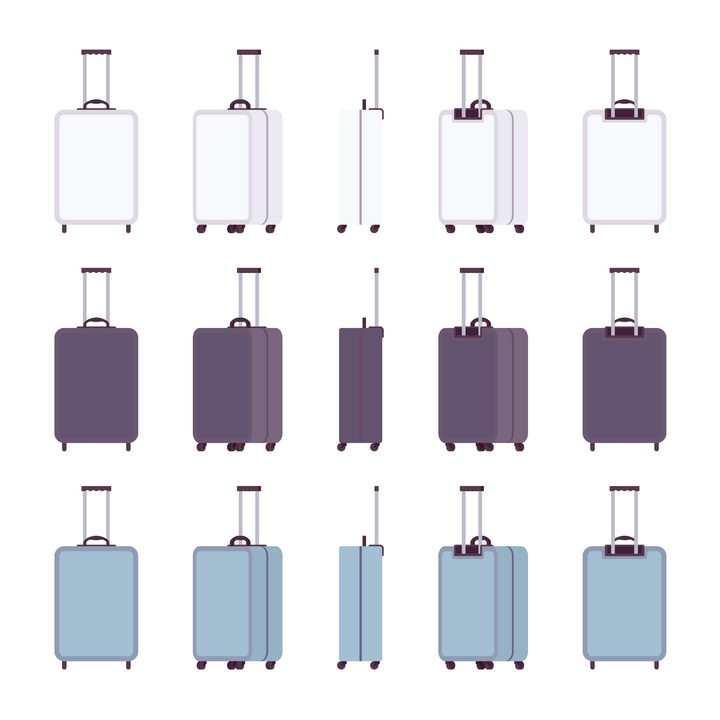 3款各种不同角度的卡通行李箱拉杆箱图片免抠矢量素材