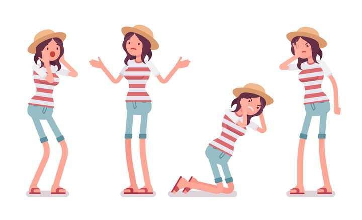 4款愤怒情绪的条纹T恤卡通女孩图片免抠矢量素材