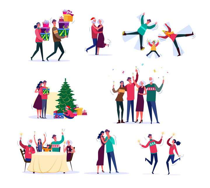 8款扁平插画风格庆祝圣诞节的一家人图片免抠矢量素材