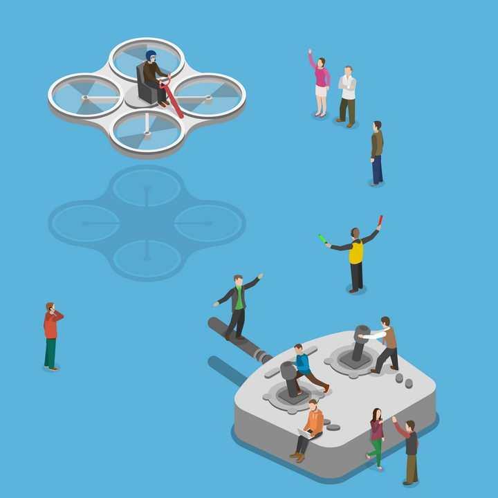 抽象风格驾驶无人遥控飞机图片免抠矢量素材