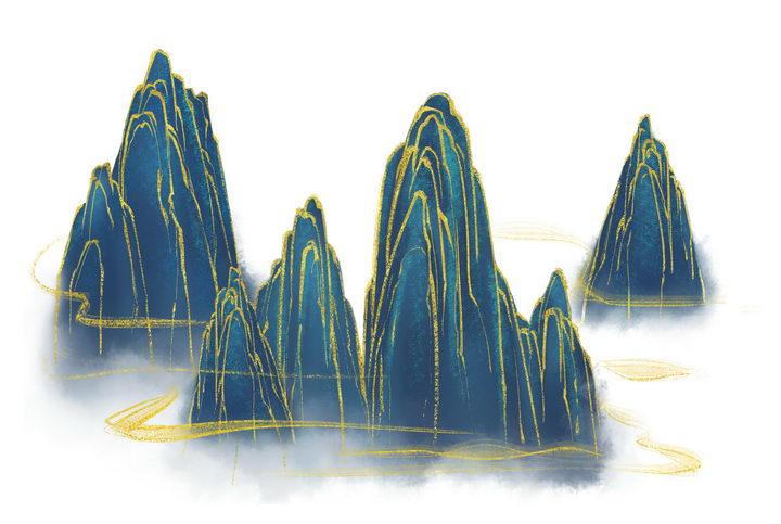 带有金丝装饰的深蓝色高山风景图图片免抠png素材 插画-第1张