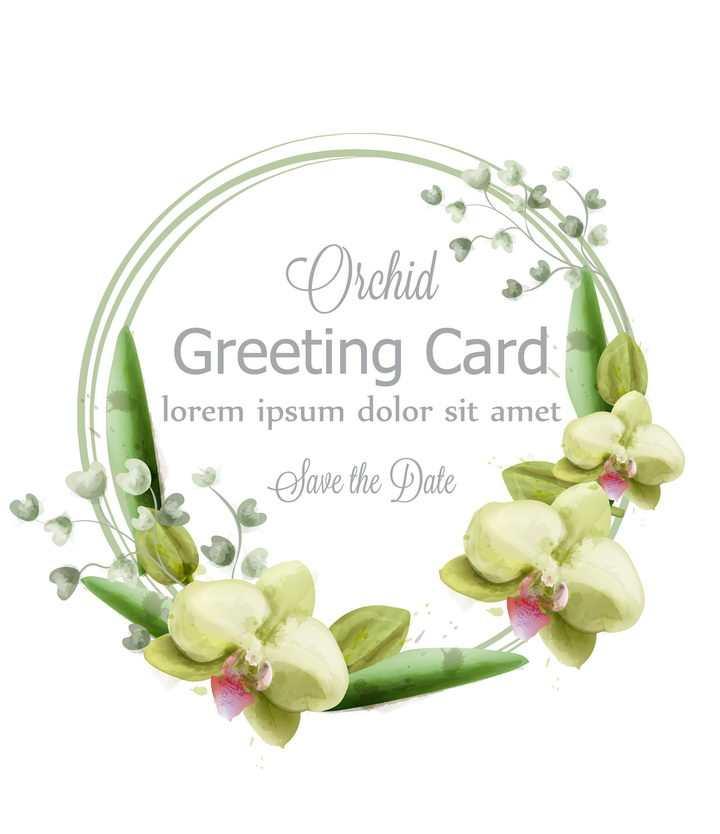 绿色的兰花和叶子组成的圆环花环标题框图片免抠矢量素材