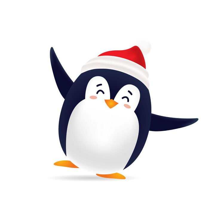 戴着圣诞帽跳舞的可爱卡通企鹅图片免抠矢量图素材