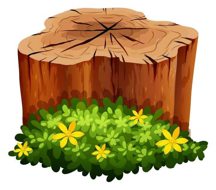 卡通风格树桩和边上的灌木丛图片免抠素材