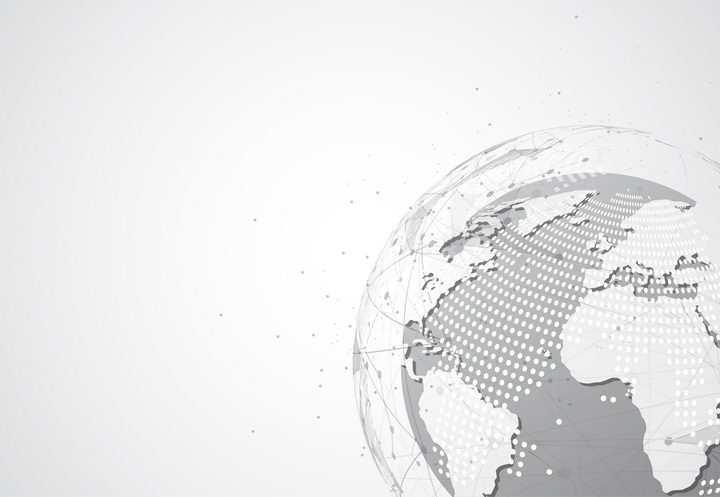 抽象地球世界地图和包围在地球外面的点线装饰图片免抠矢量素材