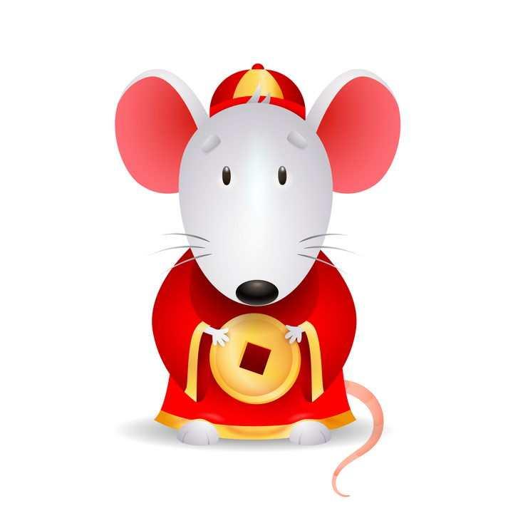 身穿财神服装的卡通老鼠鼠年快乐图片免抠矢量图素材