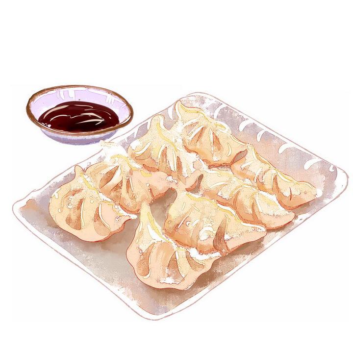 彩绘风格一碗美味的饺子水饺传统美食图片免抠png素材