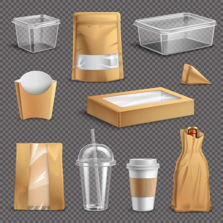 微波饭盒纸袋子一次性杯子等棕色外表的空包包装样式图片免抠矢量素材