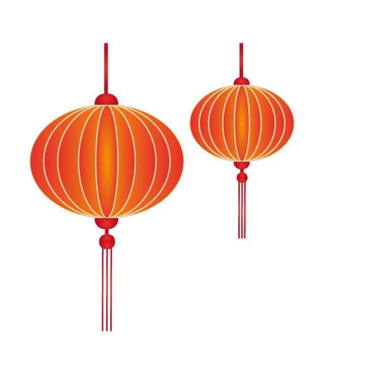 简约的红黄相间的圆形春节新年节日红灯笼图片免抠矢量素材