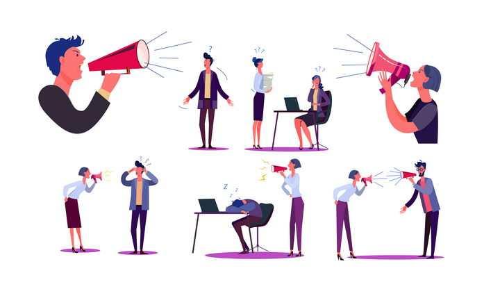 7款扁平插画风格拿着喇叭大喊的商务人士图片免抠矢量素材