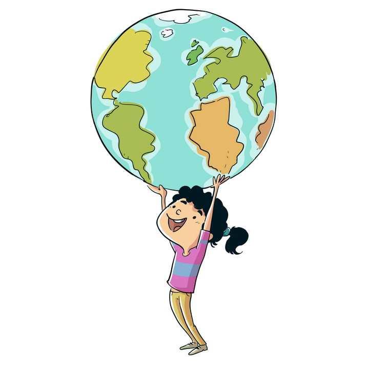 卡通小女孩双手举着地球图片免抠矢量素材