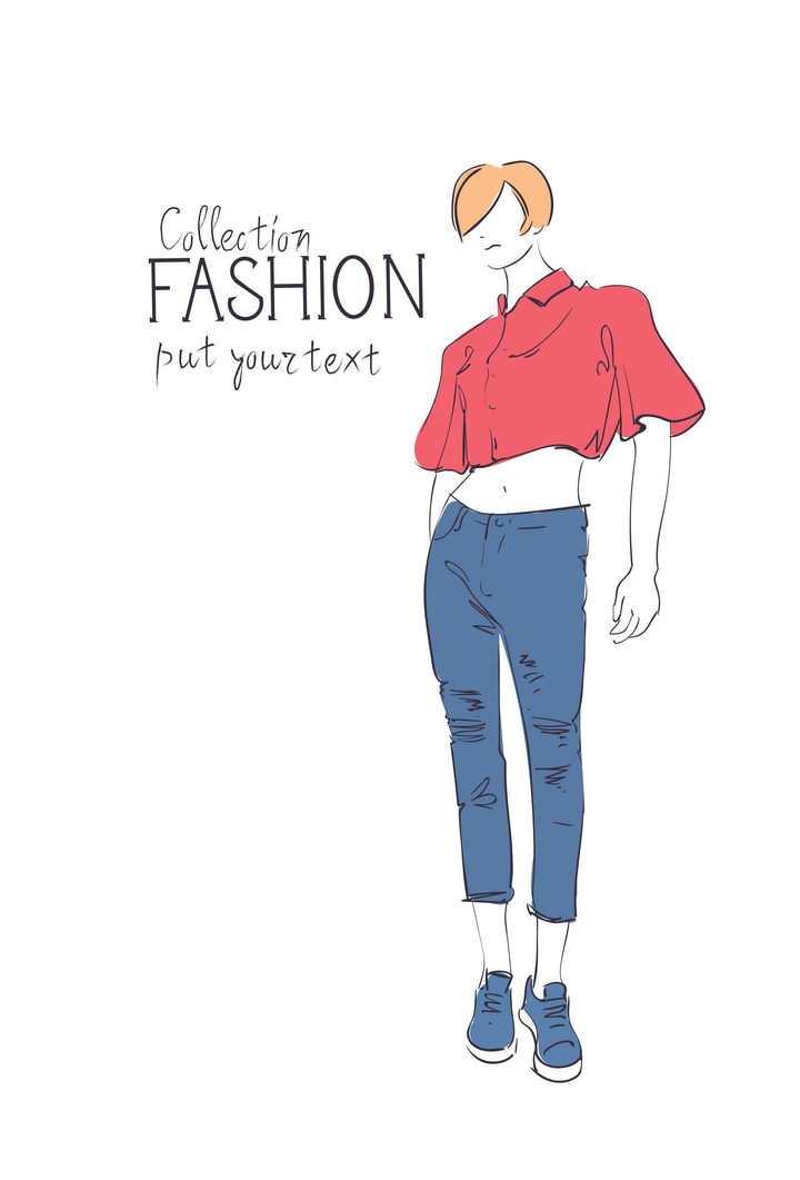彩色上色手绘风格时尚露脐装牛仔裤女装时装设计草图图片免抠矢量素材