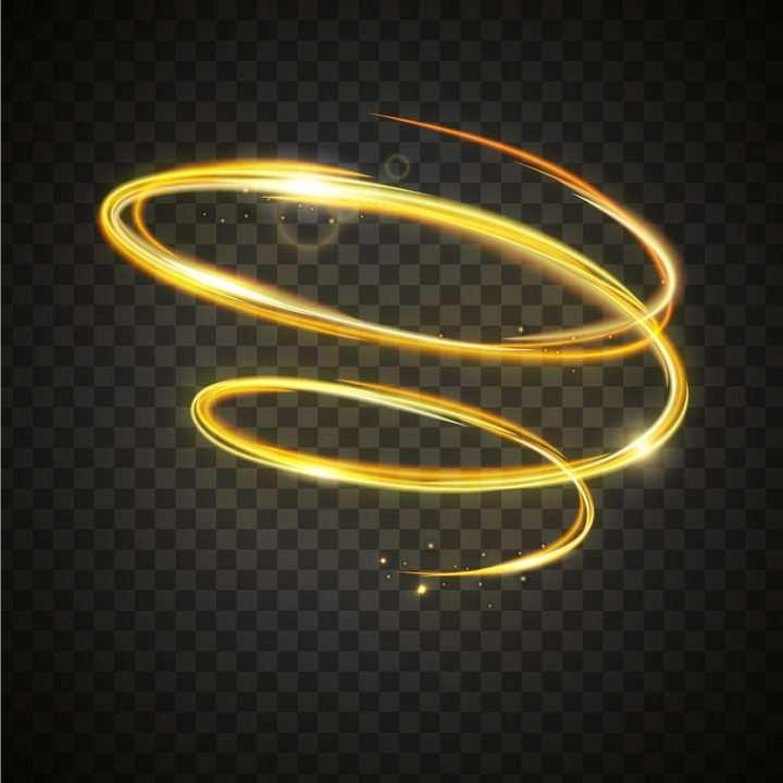 螺旋上升旋转的金色动感光线效果图片免抠矢量图素材
