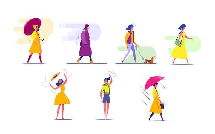 7款扁平插画风格大风天下雨天等各种天气条件下出行的女孩图片免抠矢量素材
