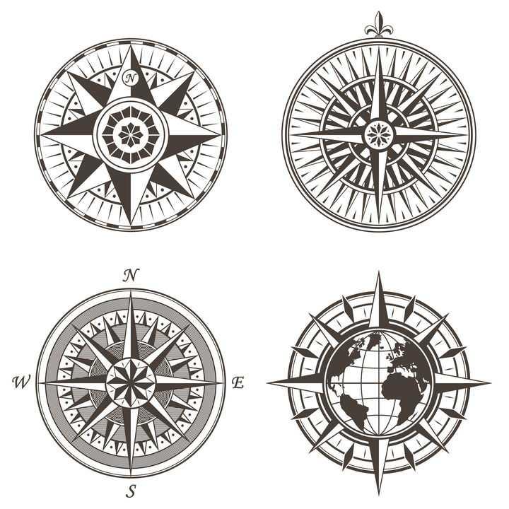 4款复古风格的指南针指北针罗盘图片免抠矢量素材