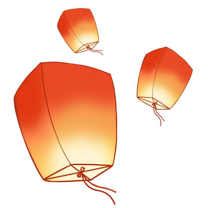 手绘风格起飞的祈福孔明灯图片免抠png素材 节日素材-第1张