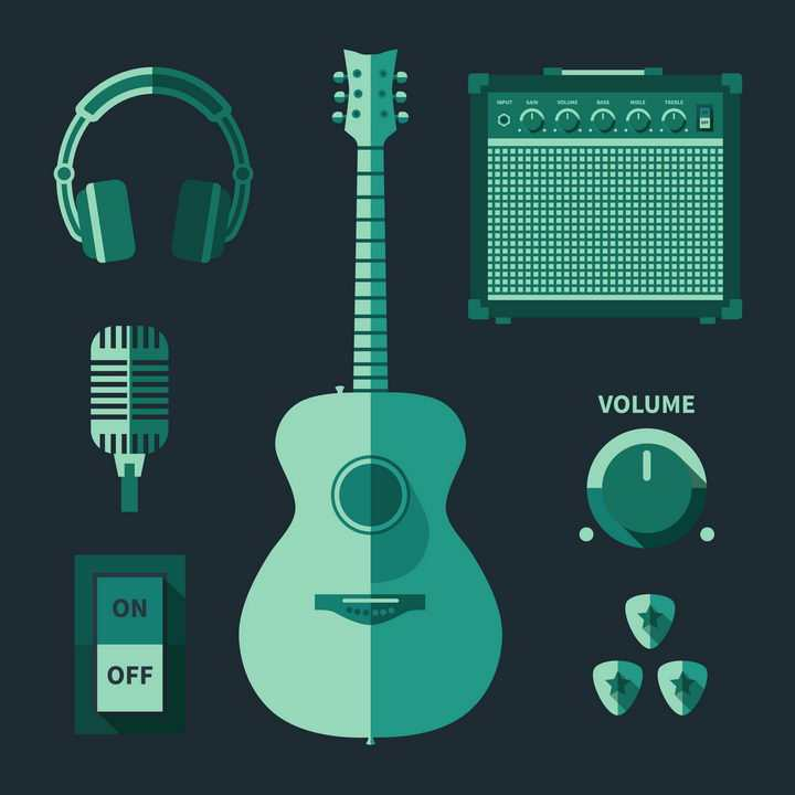 绿色扁平化风格吉他耳机话筒等乐器音乐器材图片免抠素材