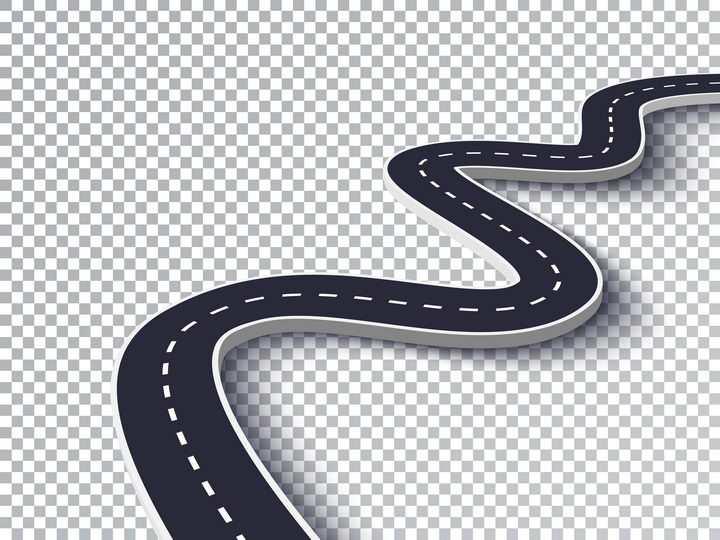 蜿蜒向前的黑色立体公路道路通向远方的路图片免抠矢量图
