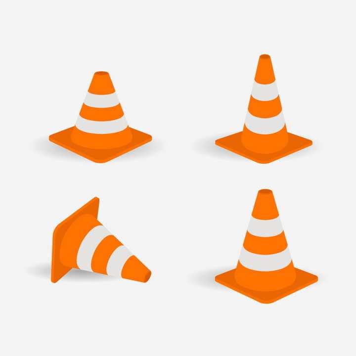 4款橙色白色相间的道路交通锥锥形路标图片免抠矢量素材