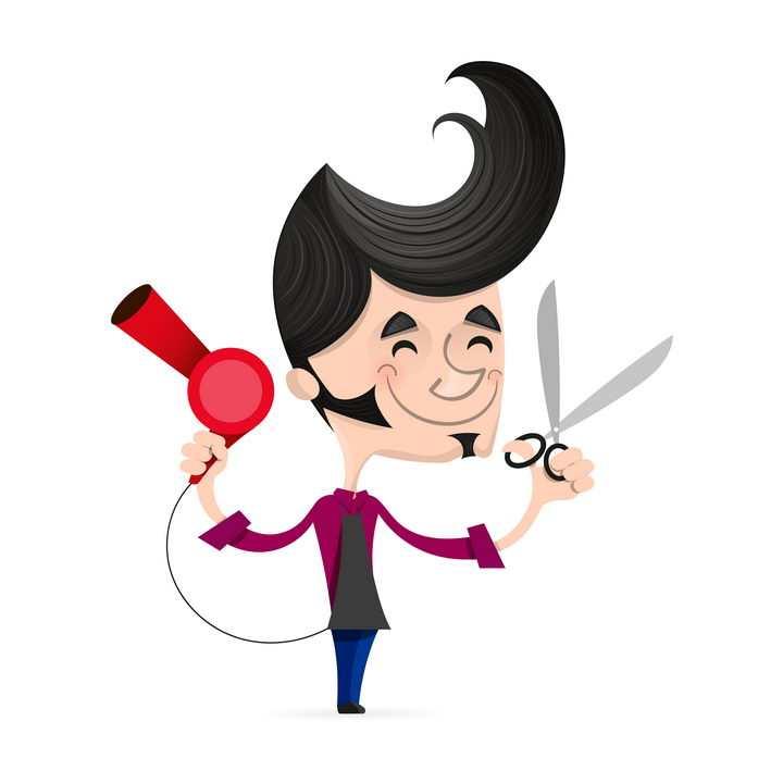 拿着电吹风和剪刀的卡通美发师理发师图片免抠矢量素材