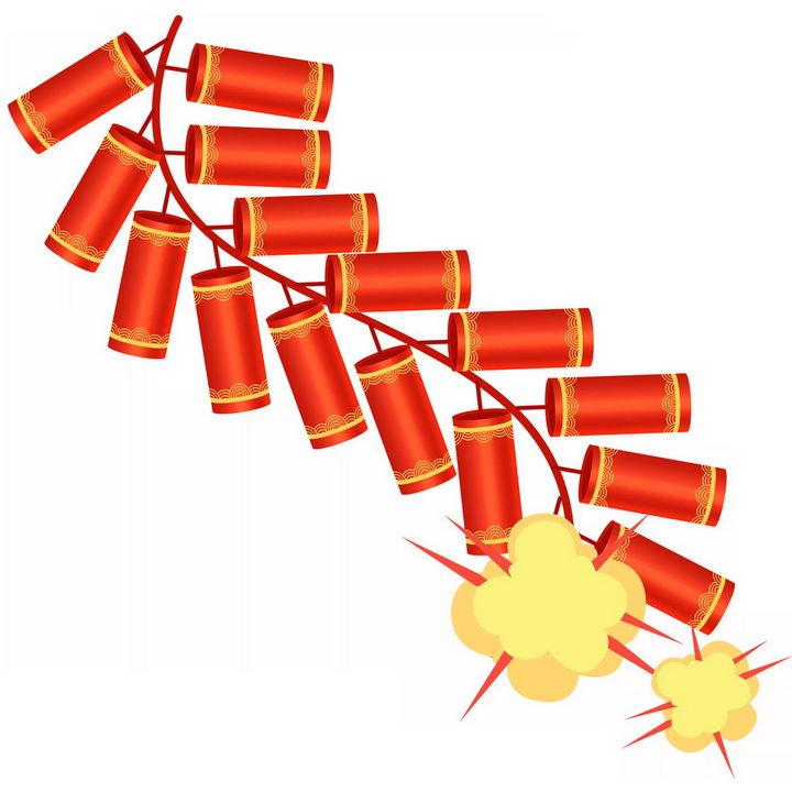 一串新年春节过节的红色鞭炮炮仗图片免抠png素材