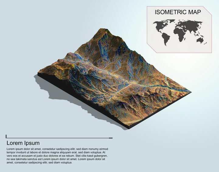 地理地质干旱地带的崇山峻岭地形地貌PS 3D模型图片模板