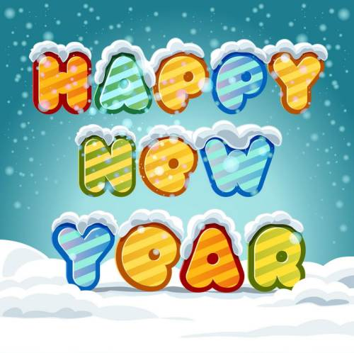 冬天被雪花覆盖的新年快乐happy new year英文字体图片免抠素材