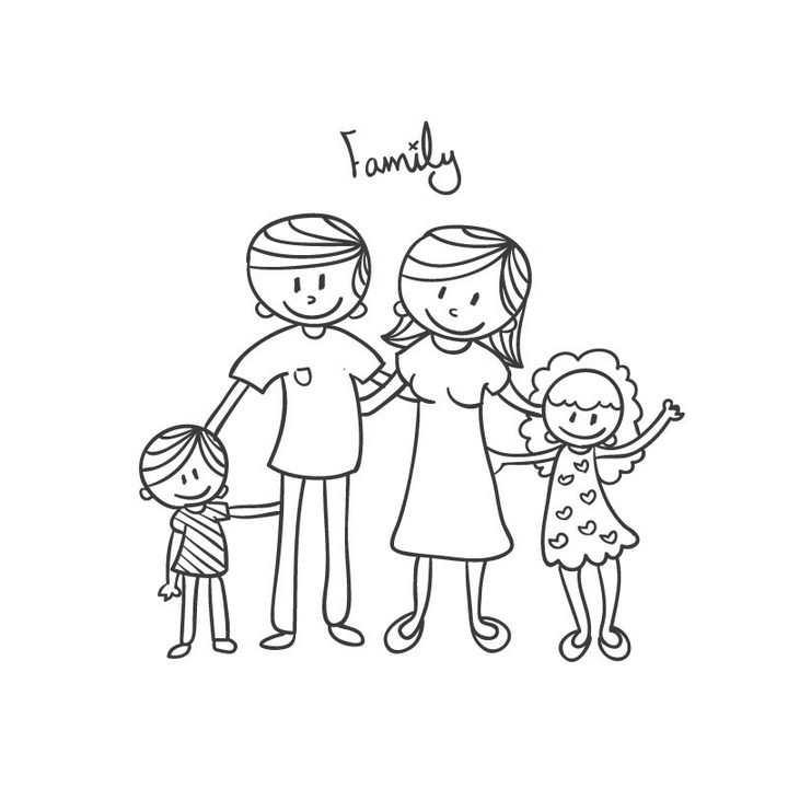 幸福的一家人爸爸妈妈姐姐妹妹简笔画儿童绘画图片免抠矢量素材