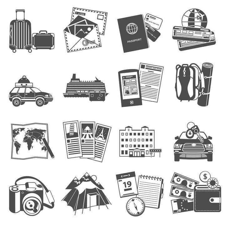 黑白色风格的旅行箱明信片护照等旅游用品图片免抠矢量素材