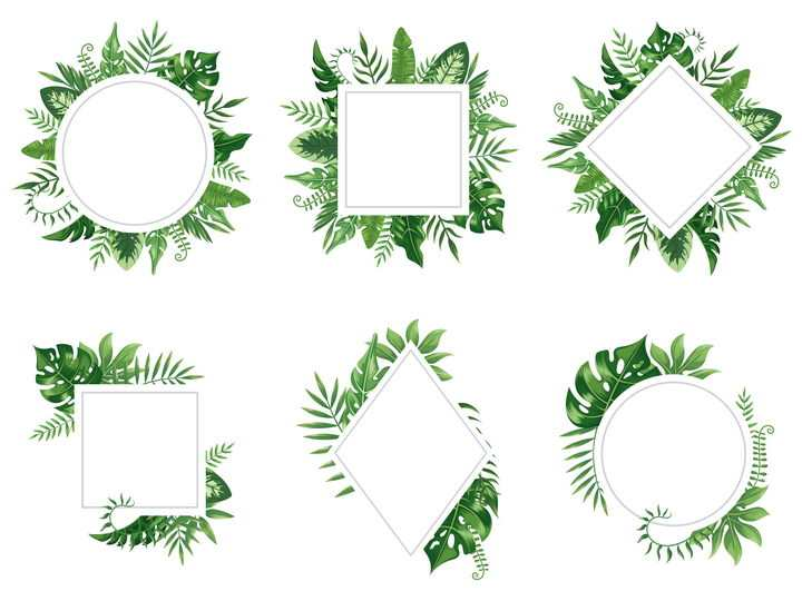 6款绿色树叶装饰的圆形正方形文本框图片免抠矢量图